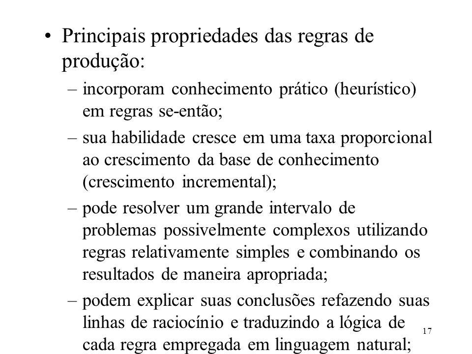 17 Principais propriedades das regras de produção: –incorporam conhecimento prático (heurístico) em regras se-então; –sua habilidade cresce em uma tax