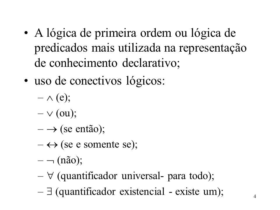 4 A lógica de primeira ordem ou lógica de predicados mais utilizada na representação de conhecimento declarativo; uso de conectivos lógicos: – (e); –
