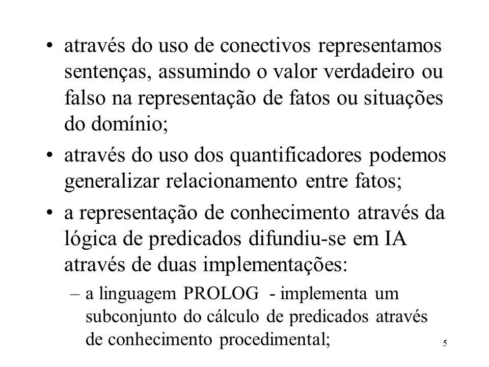 5 através do uso de conectivos representamos sentenças, assumindo o valor verdadeiro ou falso na representação de fatos ou situações do domínio; atrav