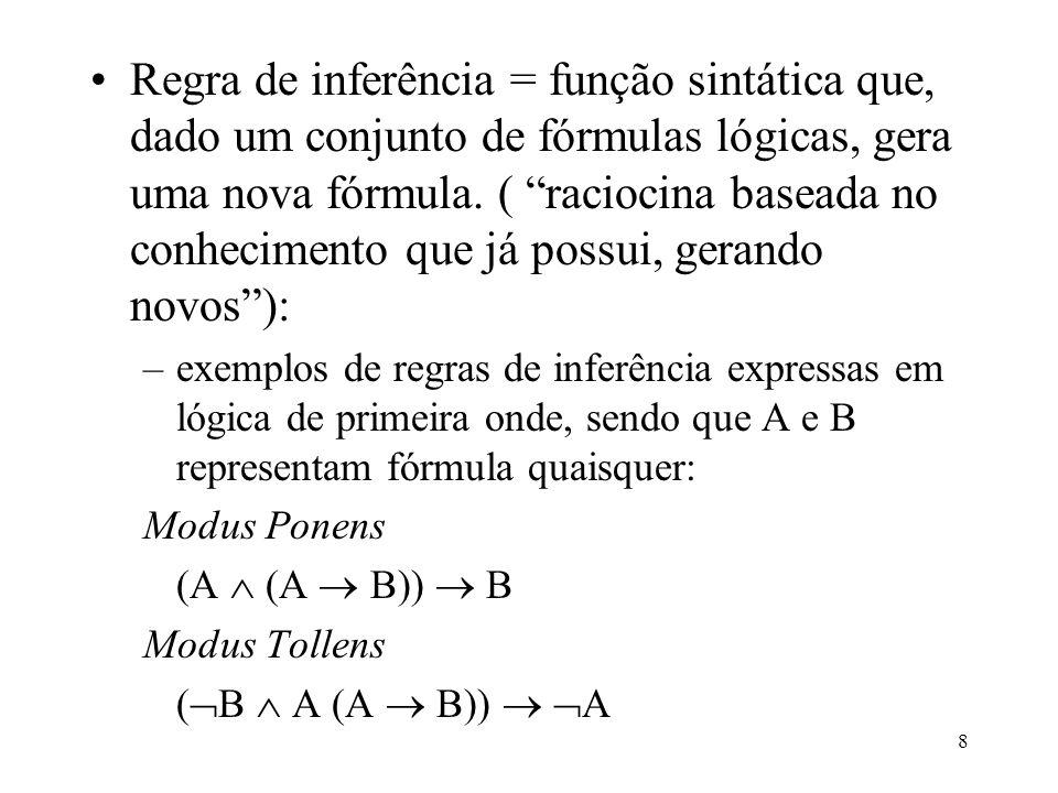 9 Silogismo Hipotético ((A B) (B C )) (A C) Especialização x (A) A{x/a} Generalização A {x/a} x (A) onde A{x/a} significa a fórmula obtida pela substituição, na fórmula A, de todas as ocorrências da variável x por uma constante a; –popularização da representação baseada na lógica motivada pela inferência de novos fatos a partir de fatos antigos de forma mecanizada (linguagem faria este mecanismo de inferência em uma base de conhecimento pré- especificada);