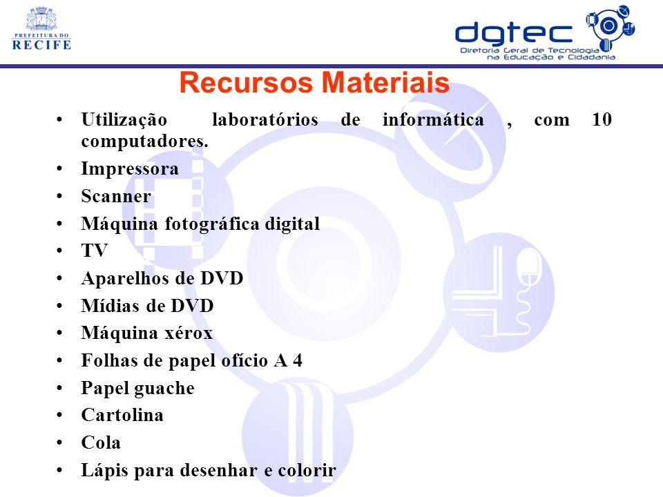 Utilização laboratórios de informática, com 10 computadores. Impressora Scanner Máquina fotográfica digital TV Aparelhos de DVD Mídias de DVD Máquina