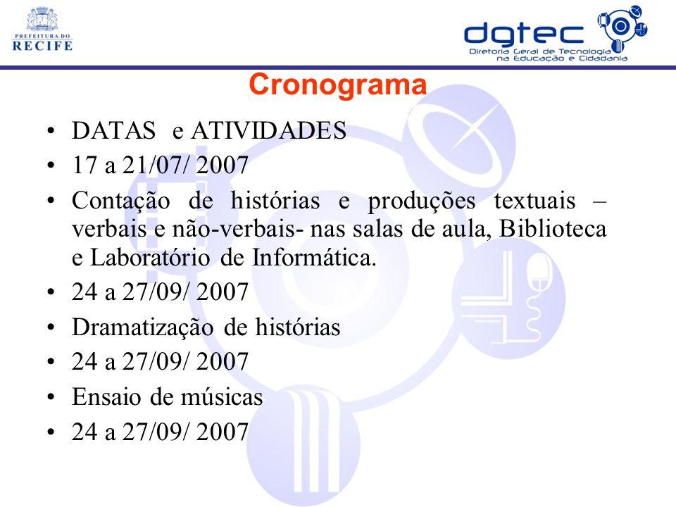 DATAS e ATIVIDADES 17 a 21/07/ 2007 Contação de histórias e produções textuais – verbais e não-verbais- nas salas de aula, Biblioteca e Laboratório de