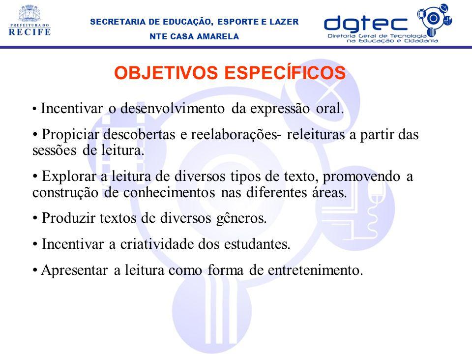 OBJETIVOS ESPECÍFICOS Incentivar o desenvolvimento da expressão oral.