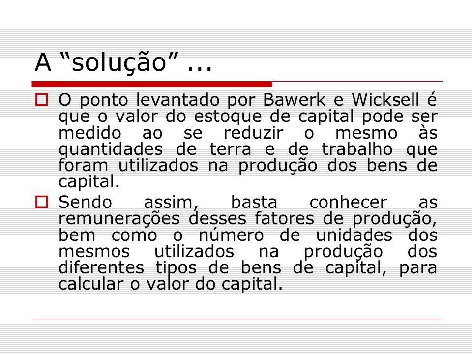 A solução... O ponto levantado por Bawerk e Wicksell é que o valor do estoque de capital pode ser medido ao se reduzir o mesmo às quantidades de terra