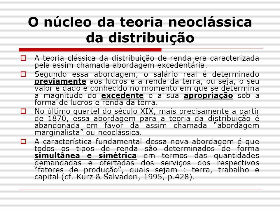 O núcleo da teoria neoclássica da distribuição A teoria clássica da distribuição de renda era caracterizada pela assim chamada abordagem excedentária.