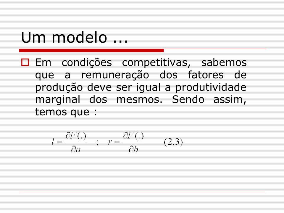 Um modelo... Em condições competitivas, sabemos que a remuneração dos fatores de produção deve ser igual a produtividade marginal dos mesmos. Sendo as