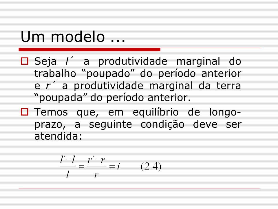 Um modelo... Seja l´ a produtividade marginal do trabalho poupado do período anterior e r´ a produtividade marginal da terra poupada do período anteri