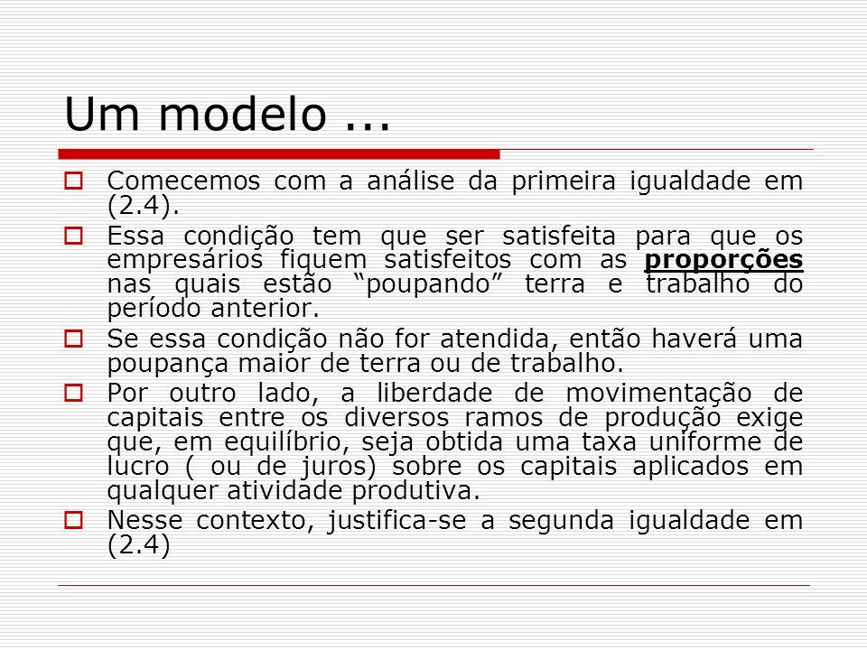 Um modelo... Comecemos com a análise da primeira igualdade em (2.4). Essa condição tem que ser satisfeita para que os empresários fiquem satisfeitos c
