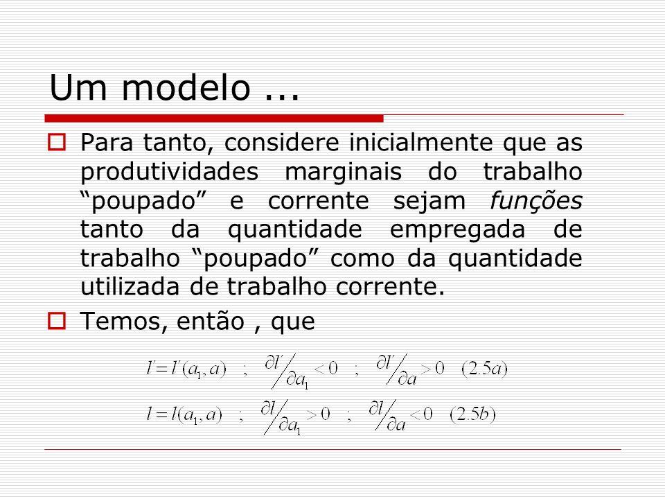 Um modelo... Para tanto, considere inicialmente que as produtividades marginais do trabalho poupado e corrente sejam funções tanto da quantidade empre