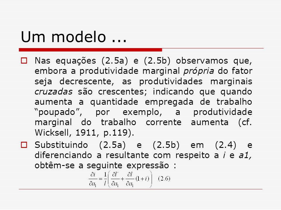 Um modelo... Nas equações (2.5a) e (2.5b) observamos que, embora a produtividade marginal própria do fator seja decrescente, as produtividades margina