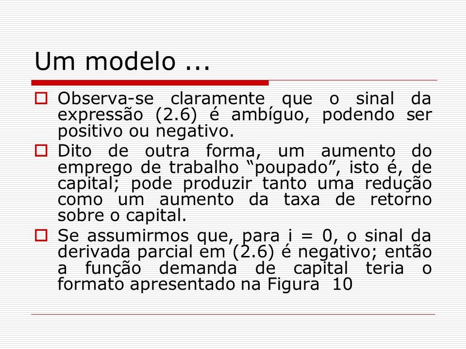 Um modelo... Observa-se claramente que o sinal da expressão (2.6) é ambíguo, podendo ser positivo ou negativo. Dito de outra forma, um aumento do empr