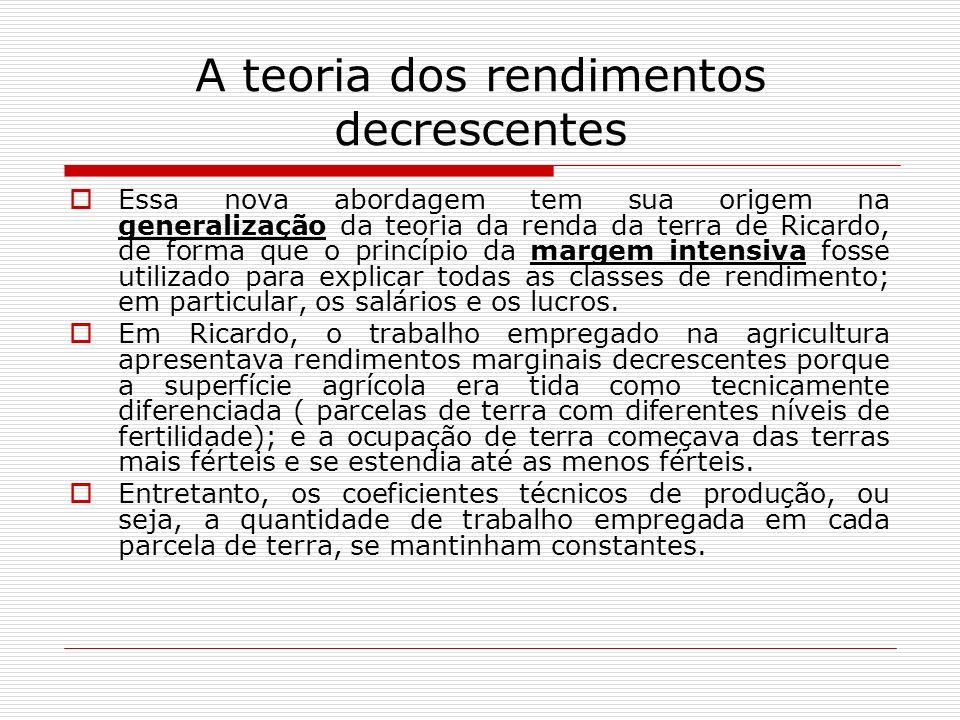 A teoria dos rendimentos decrescentes Essa nova abordagem tem sua origem na generalização da teoria da renda da terra de Ricardo, de forma que o princ