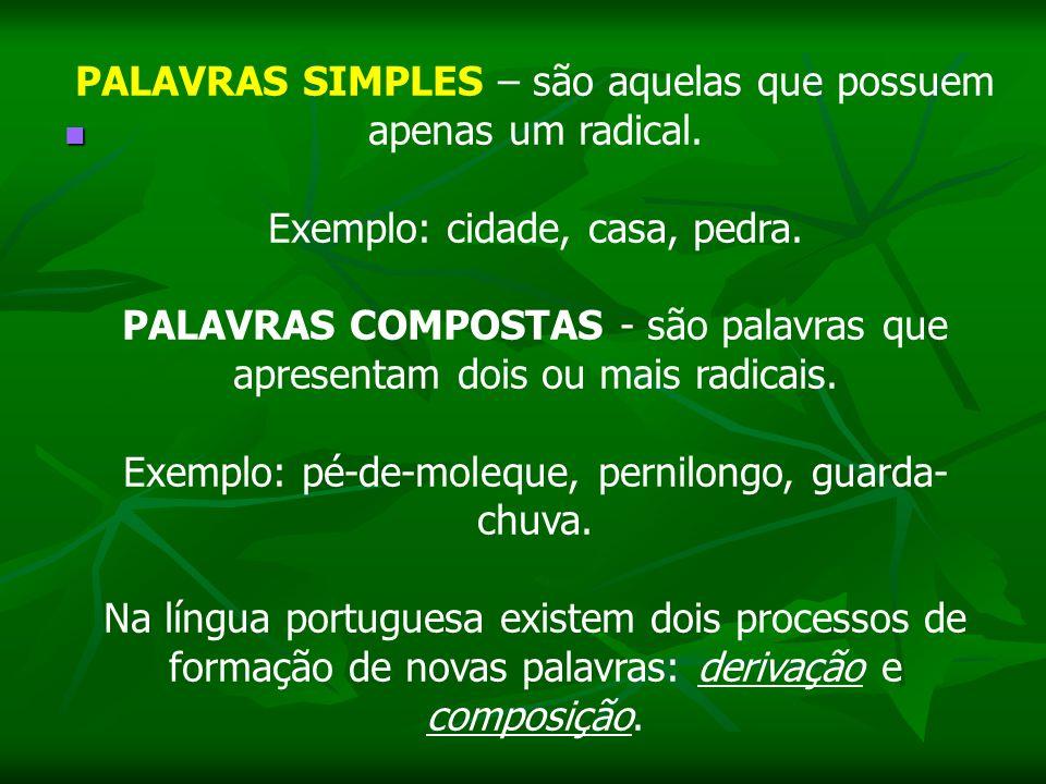 PALAVRAS SIMPLES – são aquelas que possuem apenas um radical. Exemplo: cidade, casa, pedra. PALAVRAS COMPOSTAS - são palavras que apresentam dois ou m