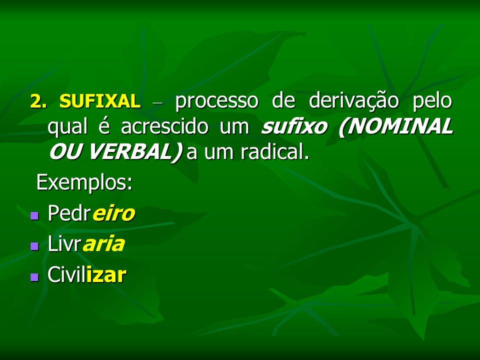 2. SUFIXAL – processo de derivação pelo qual é acrescido um sufixo (NOMINAL OU VERBAL) a um radical. Exemplos: Pedreiro Pedreiro Livr Livraria Civiliz
