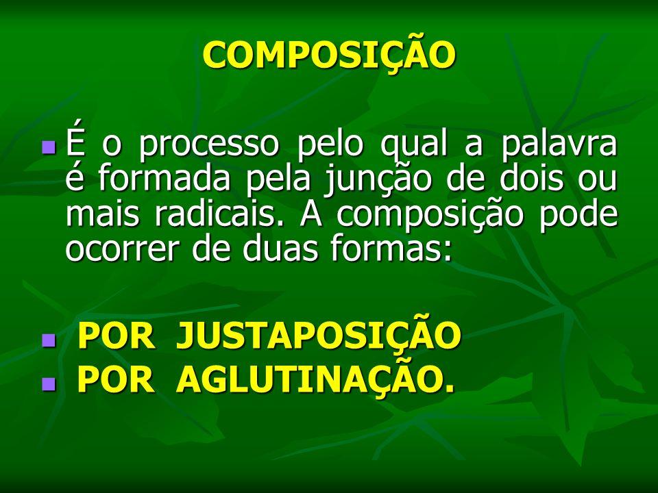 COMPOSIÇÃO É o processo pelo qual a palavra é formada pela junção de dois ou mais radicais. A composição pode ocorrer de duas formas: É o processo pel