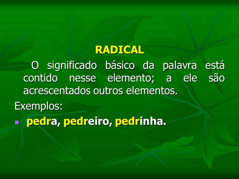 RADICAL O significado básico da palavra está contido nesse elemento; a ele são acrescentados outros elementos. O significado básico da palavra está co