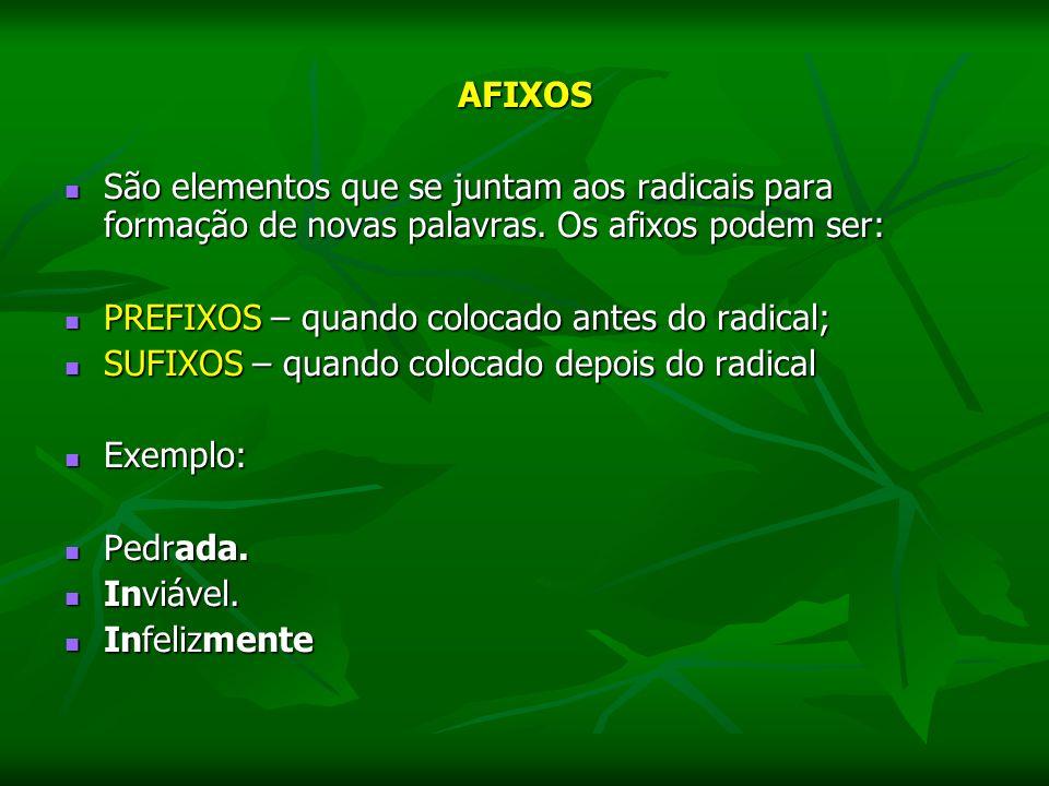 AFIXOS São elementos que se juntam aos radicais para formação de novas palavras. Os afixos podem ser: São elementos que se juntam aos radicais para fo