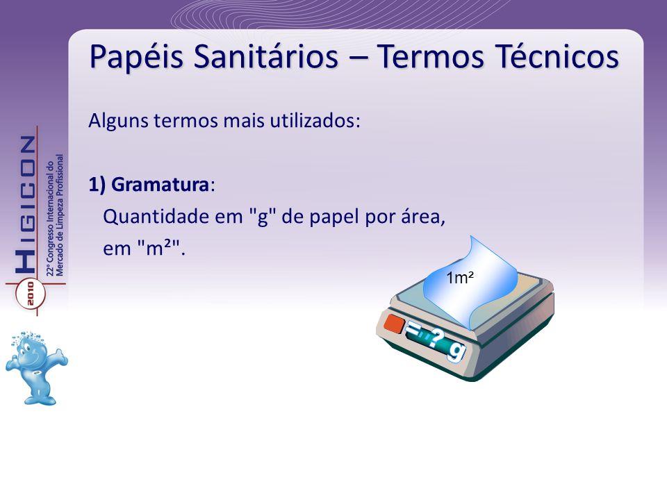 Papéis Sanitários – Termos Técnicos Alguns termos mais utilizados: 1) Gramatura: Quantidade em