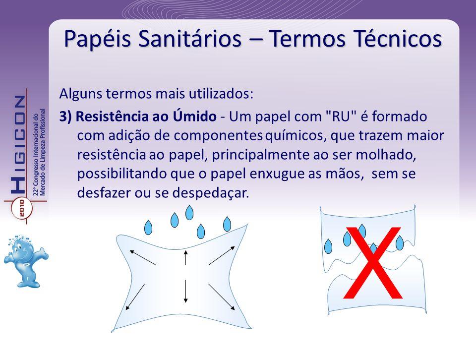 Papéis Sanitários – Termos Técnicos Alguns termos mais utilizados: 3) Resistência ao Úmido - Um papel com