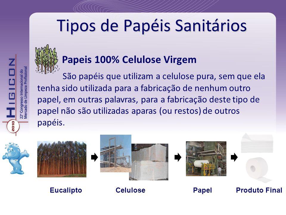 Tipos de Papéis Sanitários Papeis 100% Celulose Virgem São papéis que utilizam a celulose pura, sem que ela tenha sido utilizada para a fabricação de