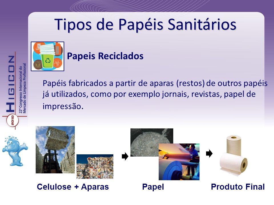Tipos de Papéis Sanitários Papeis Reciclados Papéis fabricados a partir de aparas (restos) de outros papéis já utilizados, como por exemplo jornais, r