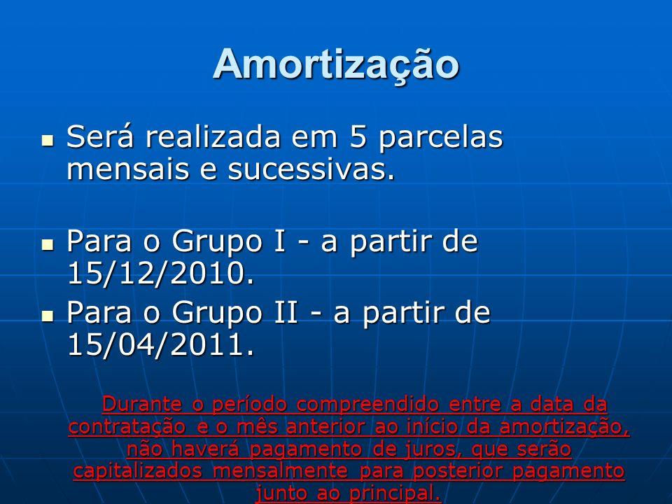 Amortização Será realizada em 5 parcelas mensais e sucessivas. Será realizada em 5 parcelas mensais e sucessivas. Para o Grupo I - a partir de 15/12/2