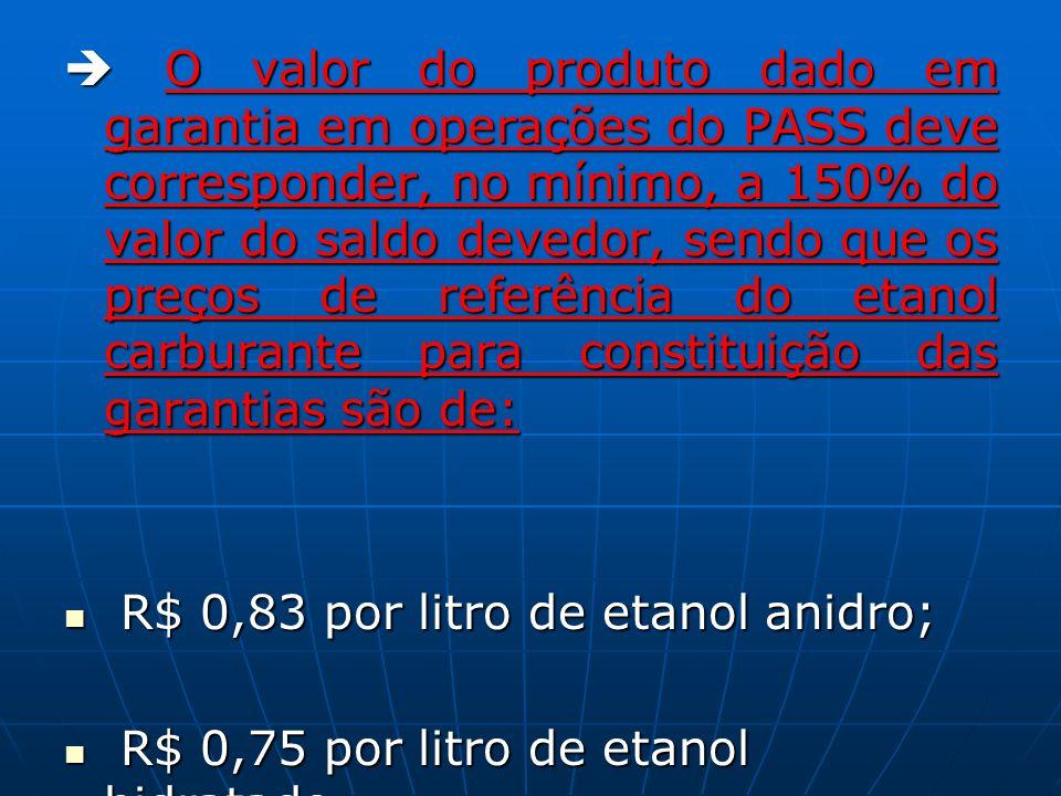O valor do produto dado em garantia em operações do PASS deve corresponder, no mínimo, a 150% do valor do saldo devedor, sendo que os preços de referência do etanol carburante para constituição das garantias são de: O valor do produto dado em garantia em operações do PASS deve corresponder, no mínimo, a 150% do valor do saldo devedor, sendo que os preços de referência do etanol carburante para constituição das garantias são de: R$ 0,83 por litro de etanol anidro; R$ 0,83 por litro de etanol anidro; R$ 0,75 por litro de etanol hidratado.