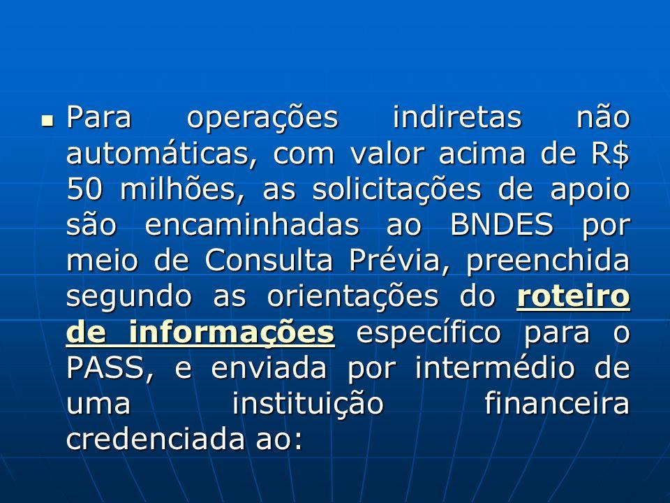 Para operações indiretas não automáticas, com valor acima de R$ 50 milhões, as solicitações de apoio são encaminhadas ao BNDES por meio de Consulta Pr