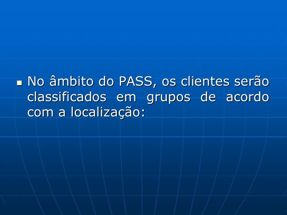 No âmbito do PASS, os clientes serão classificados em grupos de acordo com a localização: No âmbito do PASS, os clientes serão classificados em grupos