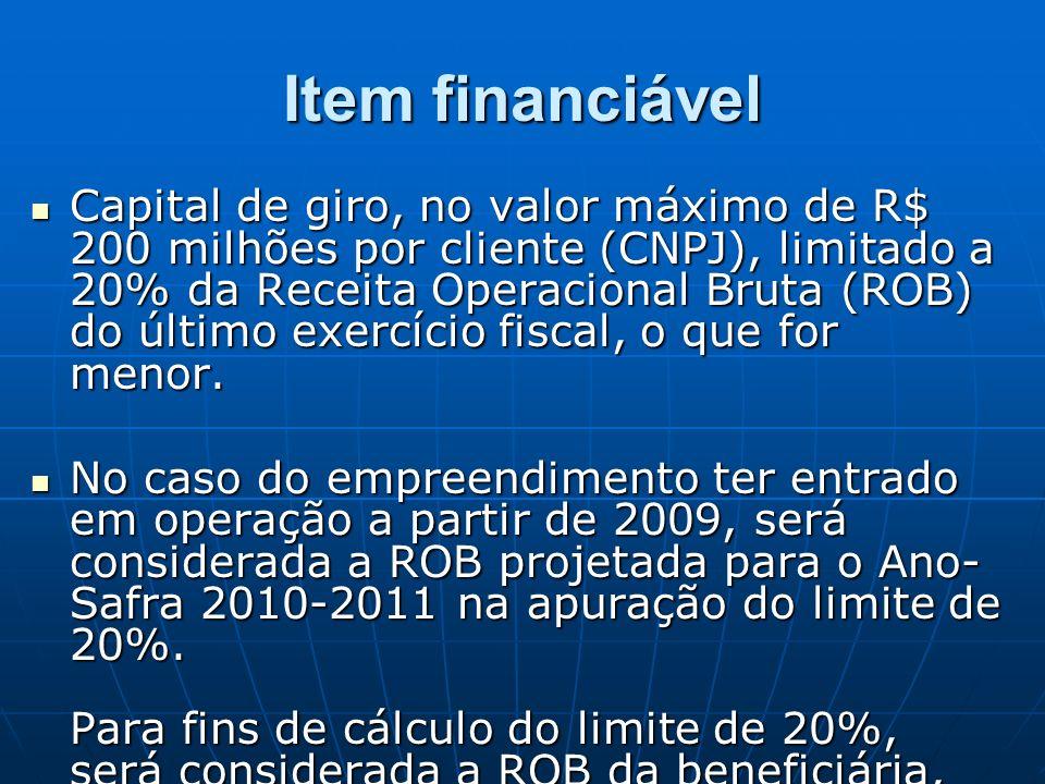 Item financiável Capital de giro, no valor máximo de R$ 200 milhões por cliente (CNPJ), limitado a 20% da Receita Operacional Bruta (ROB) do último exercício fiscal, o que for menor.