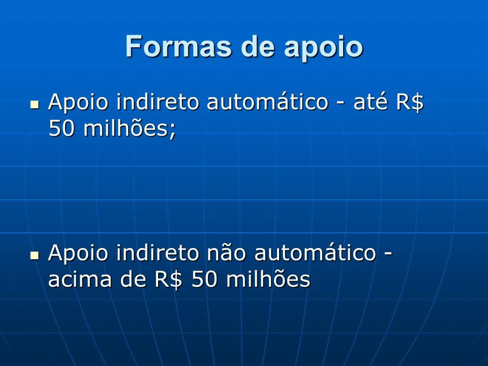 Formas de apoio Apoio indireto automático - até R$ 50 milhões; Apoio indireto automático - até R$ 50 milhões; Apoio indireto não automático - acima de R$ 50 milhões Apoio indireto não automático - acima de R$ 50 milhões