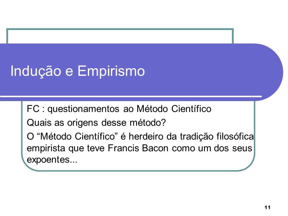 11 Indução e Empirismo FC : questionamentos ao Método Científico Quais as origens desse método? O Método Científico é herdeiro da tradição filosófica