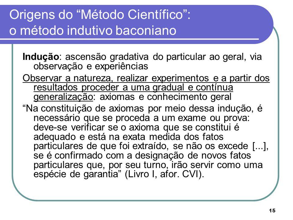 15 Origens do Método Científico: o método indutivo baconiano Indução: ascensão gradativa do particular ao geral, via observação e experiências Observa
