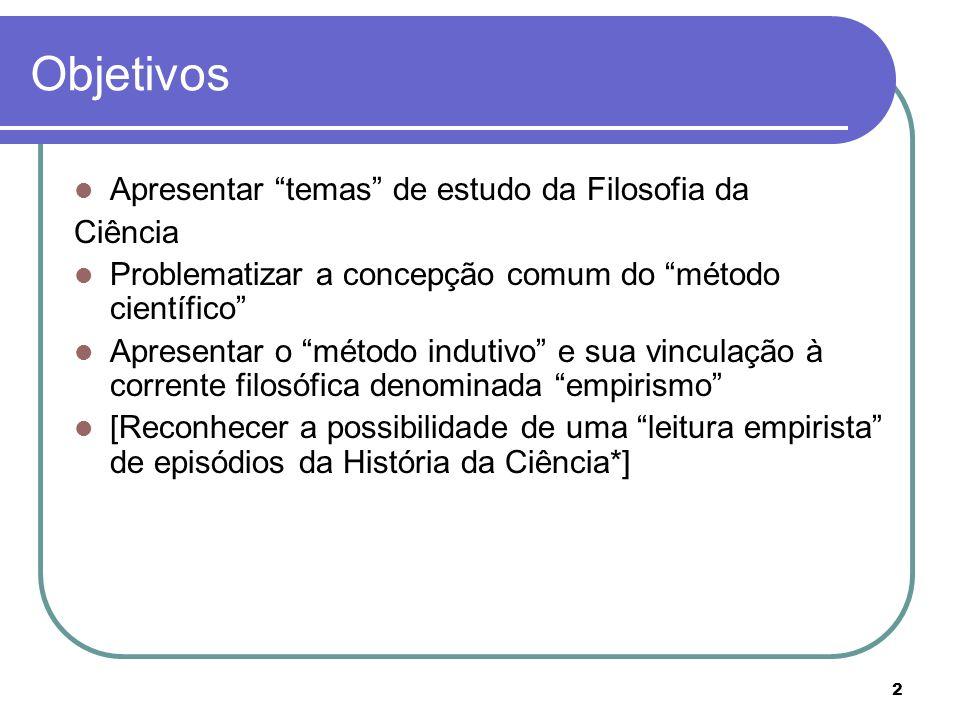 2 Objetivos Apresentar temas de estudo da Filosofia da Ciência Problematizar a concepção comum do método científico Apresentar o método indutivo e sua