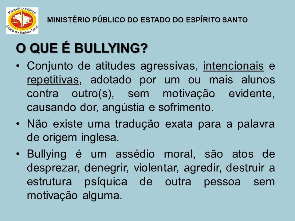 MINISTÉRIO PÚBLICO DO ESTADO DO ESPÍRITO SANTO O QUE NÃO É BULLYING.