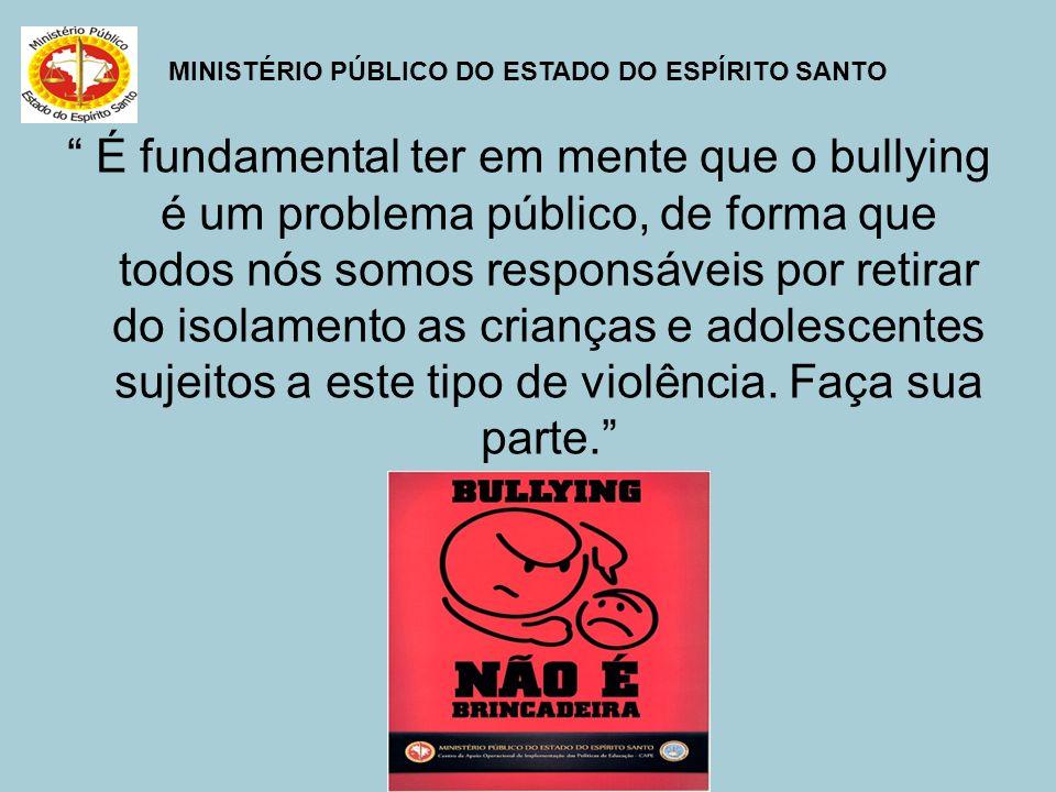 MINISTÉRIO PÚBLICO DO ESTADO DO ESPÍRITO SANTO É fundamental ter em mente que o bullying é um problema público, de forma que todos nós somos responsáv