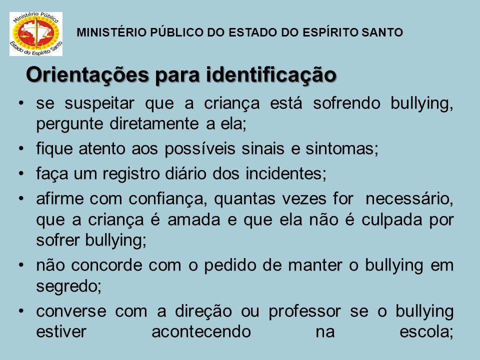 MINISTÉRIO PÚBLICO DO ESTADO DO ESPÍRITO SANTO Orientações para identificação se suspeitar que a criança está sofrendo bullying, pergunte diretamente