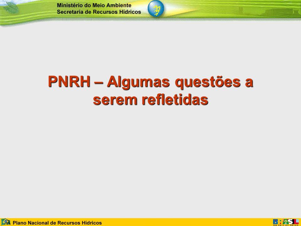 Aspectos de Relativos ao Posicionamento Estratégico do PNRH São apresentadas questões relacionadas ao posicionamento do PNRH no contexto estratégico da gestão dos recursos hídricos.