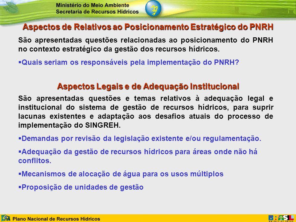 Aspectos de Relativos ao Posicionamento Estratégico do PNRH São apresentadas questões relacionadas ao posicionamento do PNRH no contexto estratégico d