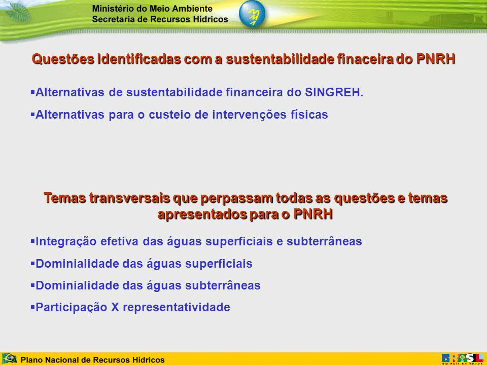 Questões Identificadas com a sustentabilidade finaceira do PNRH Alternativas de sustentabilidade financeira do SINGREH. Alternativas para o custeio de