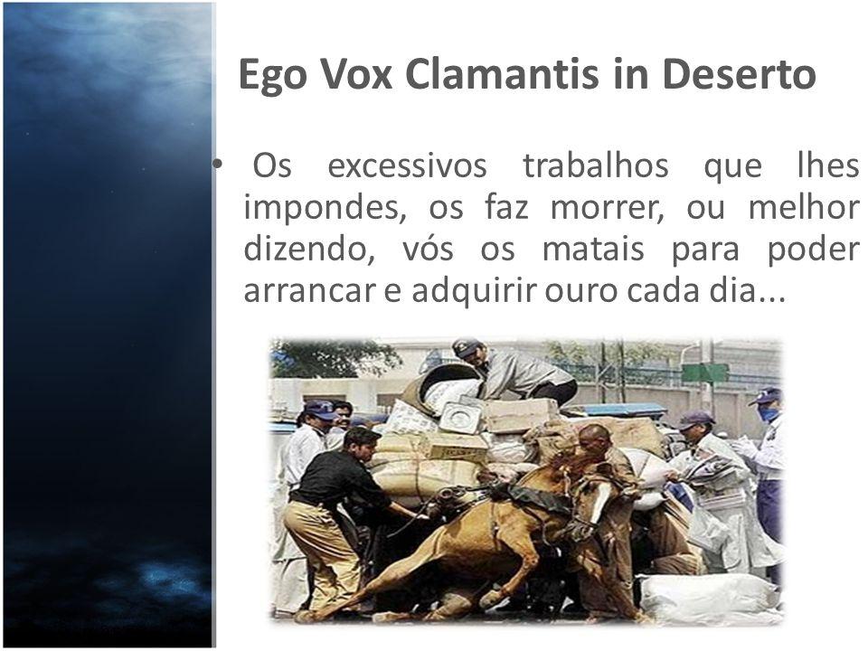Ego Vox Clamantis in Deserto Os excessivos trabalhos que lhes impondes, os faz morrer, ou melhor dizendo, vós os matais para poder arrancar e adquirir