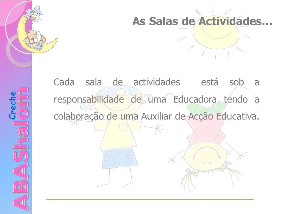 Creche As Salas de Actividades… Cada sala de actividades está sob a responsabilidade de uma Educadora tendo a colaboração de uma Auxiliar de Acção Edu