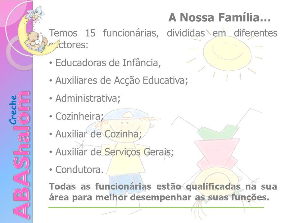 Creche Temos 15 funcionárias, divididas em diferentes sectores: Educadoras de Infância, Auxiliares de Acção Educativa; Administrativa; Cozinheira; Auxiliar de Cozinha; Auxiliar de Serviços Gerais; Condutora.
