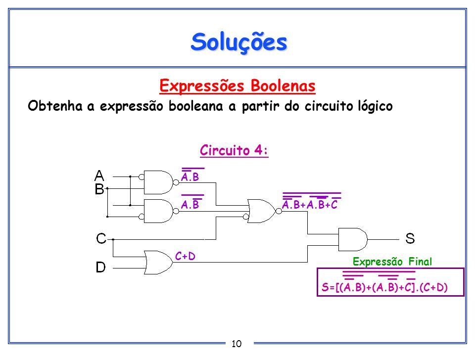 10 Expressões Boolenas Obtenha a expressão booleana a partir do circuito lógico Soluções Circuito 4: A.B C+D A.B+A.B+C S=[(A.B)+(A.B)+C].(C+D) Express