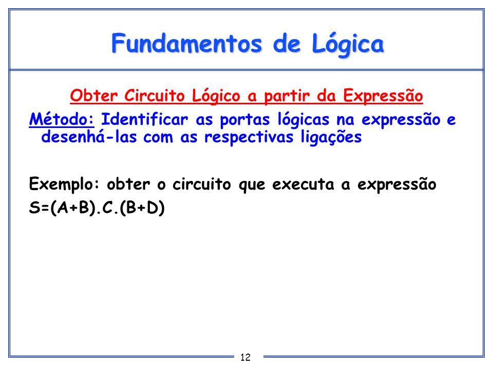 12 Fundamentos de Lógica Obter Circuito Lógico a partir da Expressão Método: Identificar as portas lógicas na expressão e desenhá-las com as respectiv
