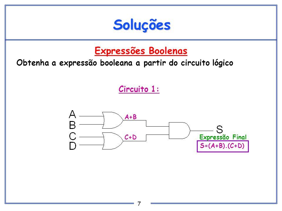 8 Expressões Boolenas Obtenha a expressão booleana a partir do circuito lógico Soluções Circuito 2: A.B C.D C S=(A.B)+C+(C.D) Expressão Final
