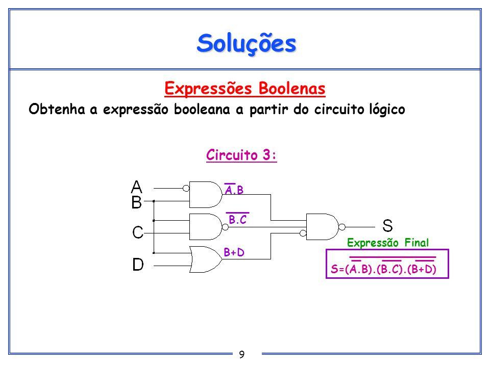 9 Expressões Boolenas Obtenha a expressão booleana a partir do circuito lógico Soluções Circuito 3: A.B B.C B+D S=(A.B).(B.C).(B+D) Expressão Final