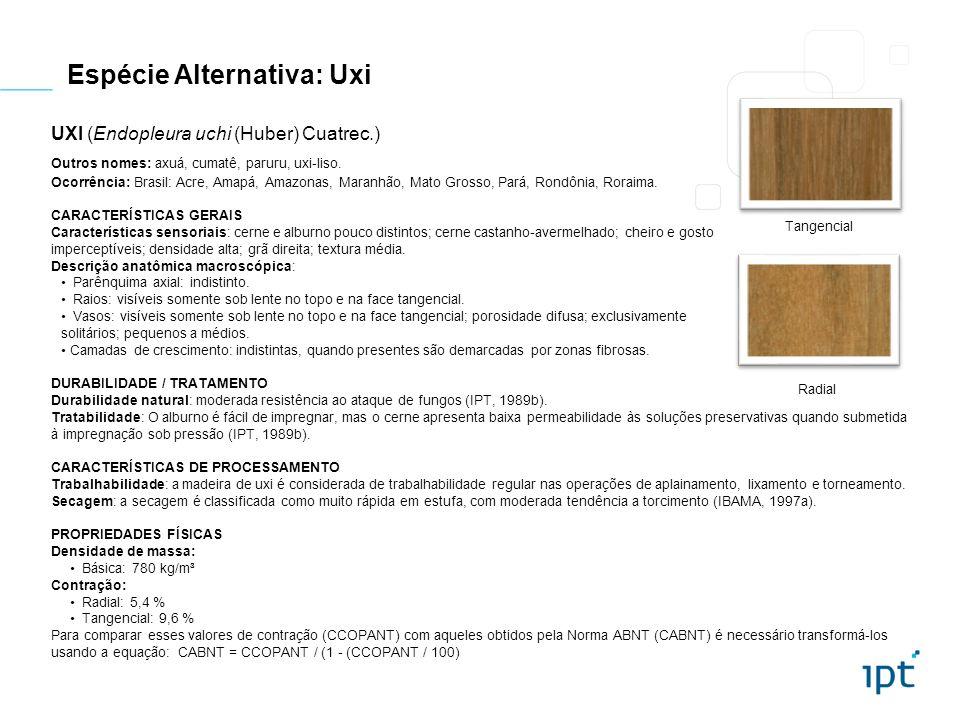 Espécie Alternativa: Uxi UXI (Endopleura uchi (Huber) Cuatrec.) Outros nomes: axuá, cumatê, paruru, uxi-liso. Ocorrência: Brasil: Acre, Amapá, Amazona