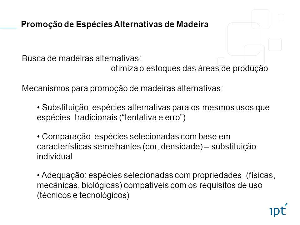 Promoção de Espécies Alternativas de Madeira Busca de madeiras alternativas: otimiza o estoques das áreas de produção Mecanismos para promoção de made