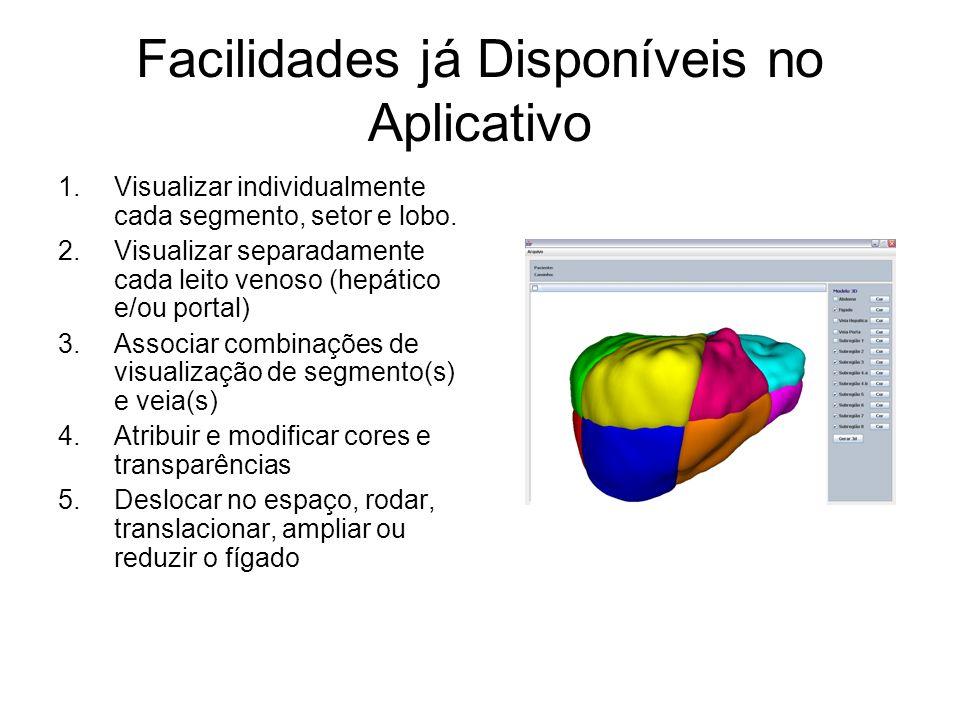 Facilidades já Disponíveis no Aplicativo 1.Visualizar individualmente cada segmento, setor e lobo.